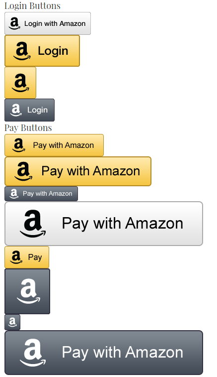 Amazon Payment/Login buttons